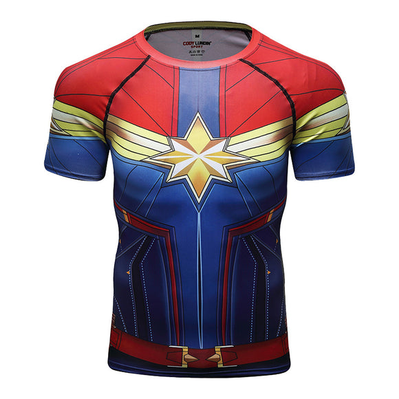 Captain Marvel Compression Sport T-Shirt Fitness Tee Gym Running Cycling Top-Fandomsky