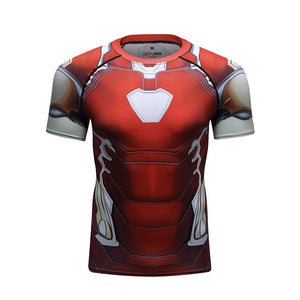 Iron Man Compression Sport T-Shirt Fitness Tee Gym Running Cycling Top-Fandomsky