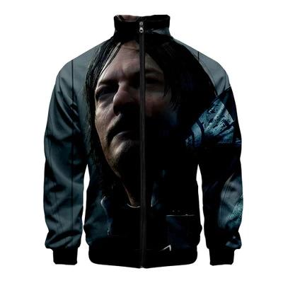 Unisex Playstaion Death Stranding 3D Color Printing Stand Collar Jacket Sweater