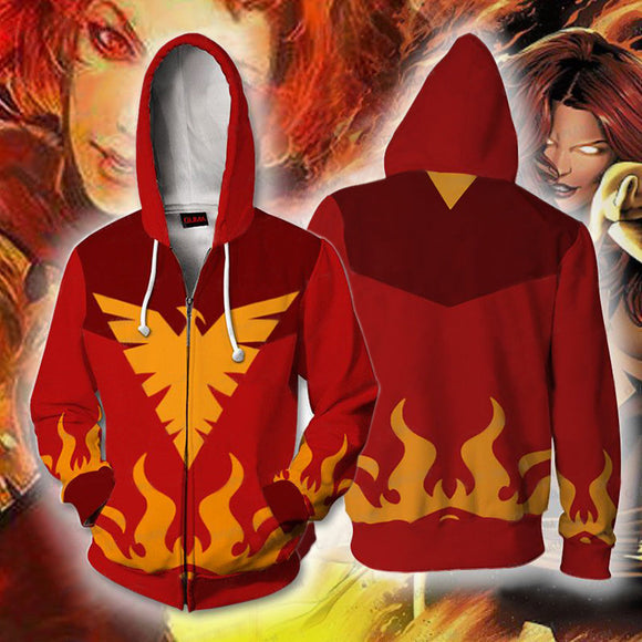 3D Print Unisex X-Men Dark Phoenix Hoodie Zipper Up Jacket-Fandomsky