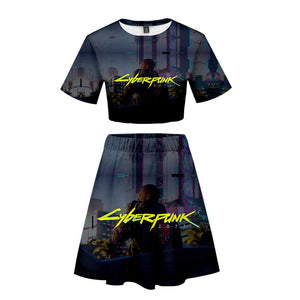 Women Cyberpunk 2077 T Shirt Sets Summer Short Sleeve T-shirt Dress 2 Pieces Sets Casual Clothes
