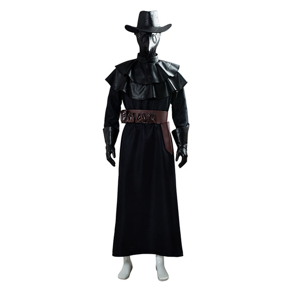 Unisex Plague Doctor Costume Long Robe Cape Outfits Steampunk Bird Beak Mask Plague Doctor Cosplay Costume Halloween