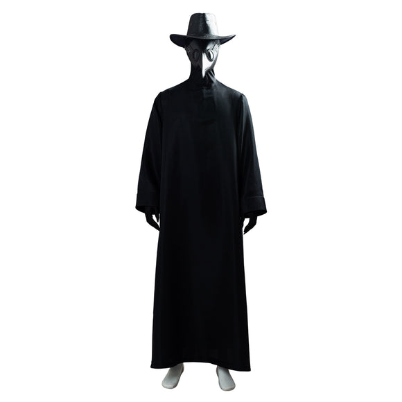 Unisex Plague Doctor Costume with Bird Beak Mask Steampunk Long Robe Outfit Halloween Cosplay Costume
