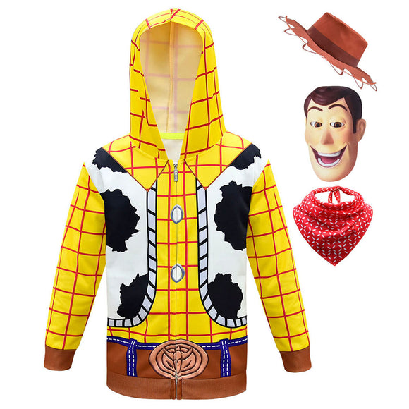 Kids Woody Hoodies Toy Story Zip Up 3D Print Jacket Sweatshirt Cosplay Set-Fandomsky