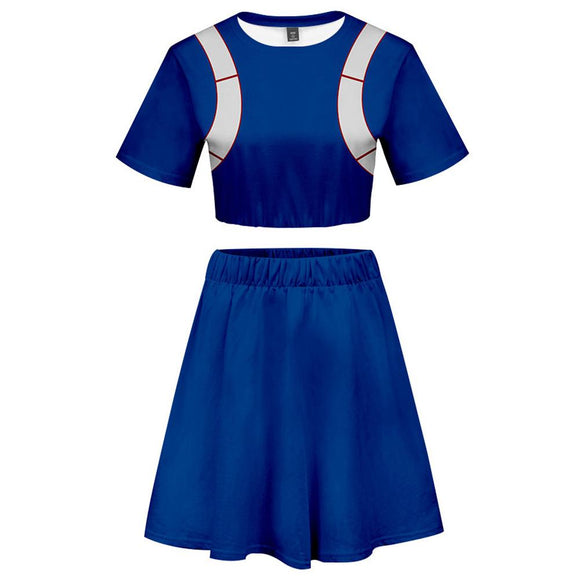 My Hero Academia 2 Pieces Shoto Todoroki Outfits for Women Short Sleeves Crop Top + A Line Skirt Sets-Fandomsky