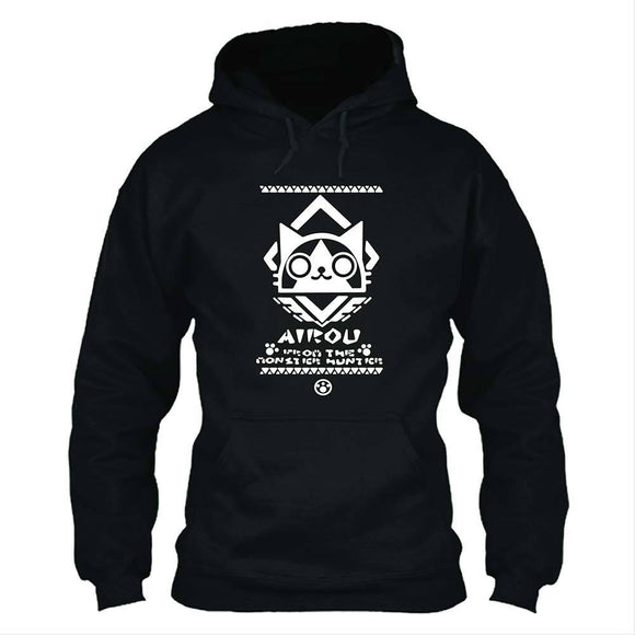 Unisex Monster Hunter: World Hoodies Airu Cat Printed Pullover Jacket Casual Sweatshirt