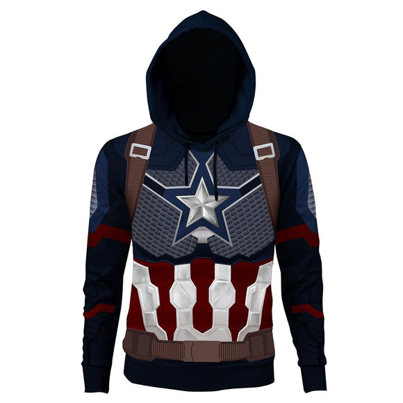 The Avengers Endgame Captain America Cosplay Hoodie 3D Printed Thin Sports Jacket-Fandomsky