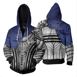 Unisex Knight Artorias Hoodies Dark Souls Zip Up 3D Print Jacket Sweatshirt-Fandomsky