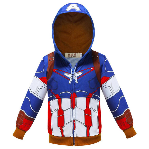 Kids Hoodies Superhero Captain America Sweatshirt for Boys-Fandomsky