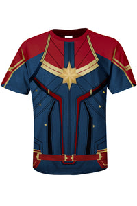 Womens Mens Superhero Captain Marvel T-Shirts Avenger's Endgame Quantum Realm Costume-Fandomsky