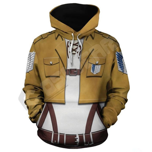 Unisex Attack on Titan Hoodie Survey Corps Cosplay Hooded Pullover Sweatshirt Cosplay Costume