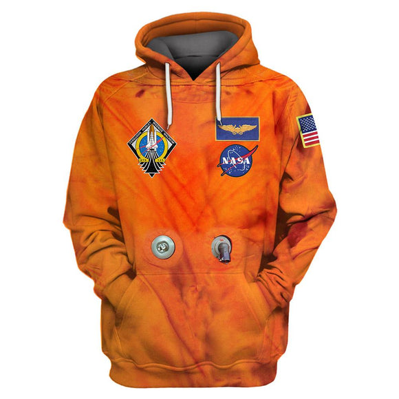 Adult Men Casual Astronaut Spacesuit Outfits Halloween Orange Armstrong Space Pullover Hoodies Sweatshirt