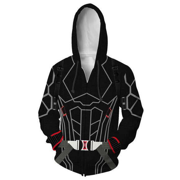 Unisex Black Widow Hoodies The Avengers Zip Up 3D Print Jacket Sweatshirt