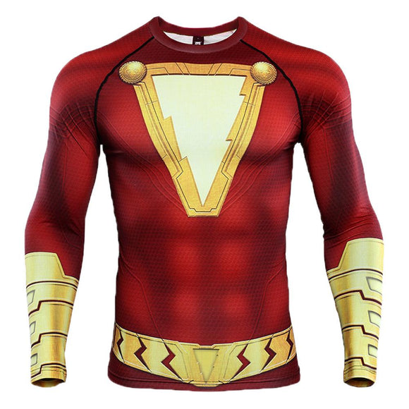 Shazam 3D Print T Shirt Men's Compression Shirt-Fandomsky