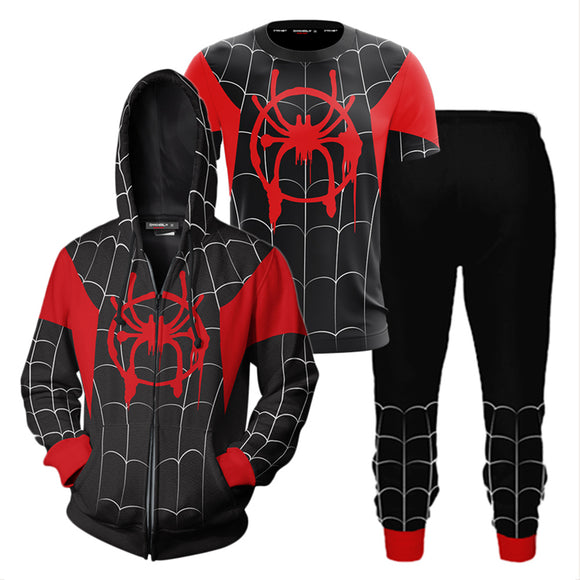 Black Spiderman Far From Home Suit Hoodie T-Shirt Pants-Fandomsky