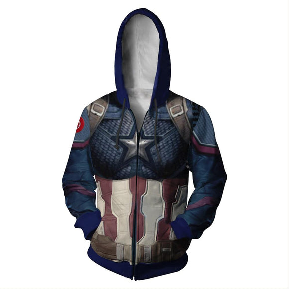 Adult Endgame Captain America Hoodie Halloween Cosplay Costume Hooded Sweatshirts-Fandomsky