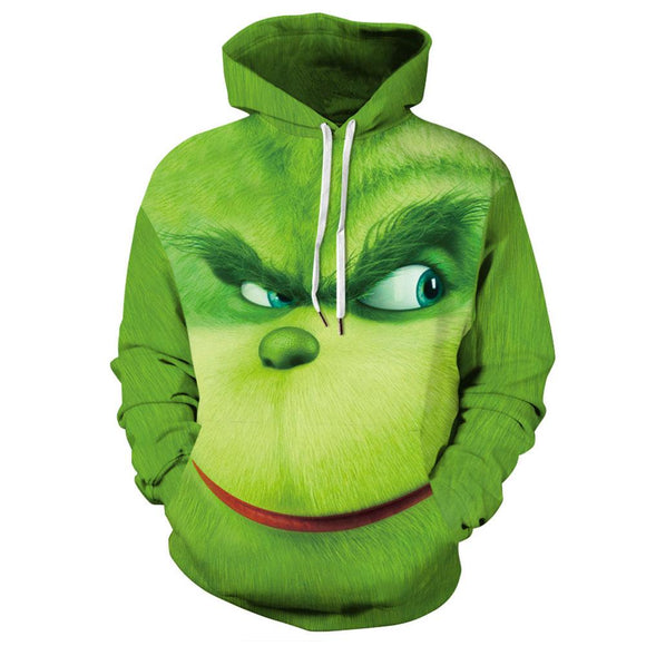 Unisex How the Grinch Stole Christmas 3D Printing Hooded Pullover Hoodies Sweatshirt Tops