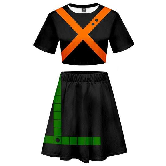 My Hero Academia 2 Pieces Bakugou Katsuki Outfits for Women Short Sleeves Crop Top + A Line Skirt Sets-Fandomsky