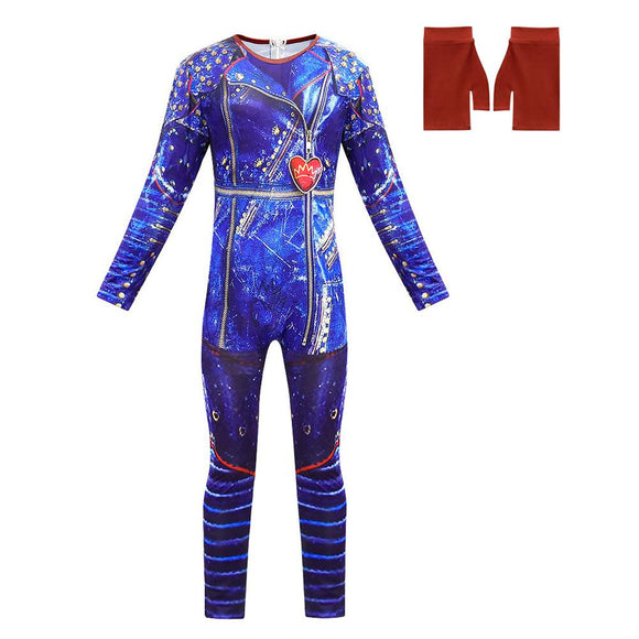 Descendants 3 Evie Cosplay Dress Halloween Costumes for Kids Girls Long Sleeve Jumpsuits