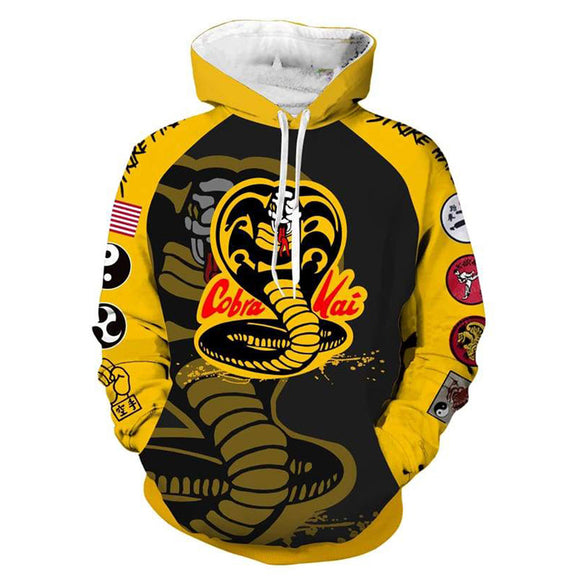 Cobra Kai Hoodie No Mercy Sweatshirt Yellow Fist Jacket Pullover Coat-Fandomsky