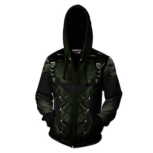 Arrow 3D Zipper Hoodies Sweatshirt Oliver Queen Jacket Cosplay Costumes Coat-Fandomsky