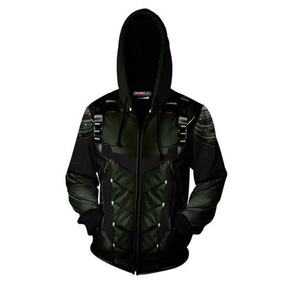 Arrow 3D Zipper Hoodies Sweatshirt Oliver Queen Jacket Cosplay Costumes Coat