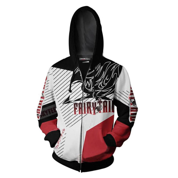 Unisex Fairy Tail 3D Zip Up Hoodie Sweatshirt Cosplay Costume Anime Jacket Sweatshirt