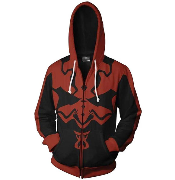 Star Wars Darth Maul Hoodie Zipper Up Sweatshirt Unisex Cosplay Costume