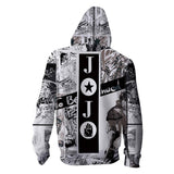 Unisex JoJo's Bizarre Adventure Hoodie Zip Up Sweatshirt Cosplay Harajuku Hooded Sweatshirts Tracksuits