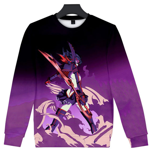 Unisex KILL la KILL Crewneck Sweatshirts Front Side Print Graphics Long Sleeves Hip Hop Top