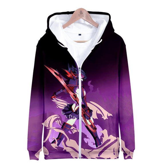 Unisex KILL la KILL Hoodies Long Sleeve Autumn Winter Sweatshirts Zip Up Clothes Tops