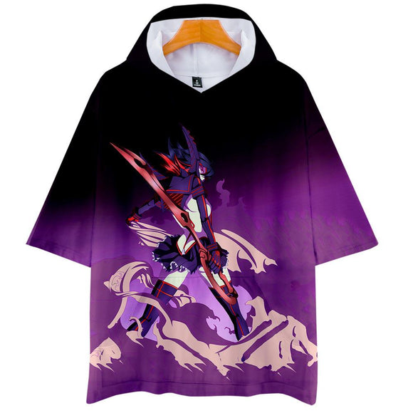 Unisex KILL la KILL T-Shirt 3D Printed Hooded Short Sleeve Pullover Tee Tops