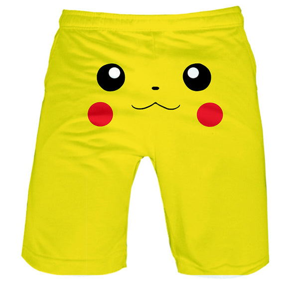 Unisex Short Pants Summer Casual Shorts Pokémon Detective Pikachu Face Short Beach Trousers-Fandomsky