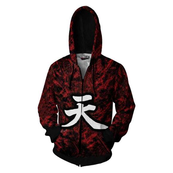 Unisex Street Fighter V Hoodies Gouki Printed Zip Up Jacket Sweatshirt