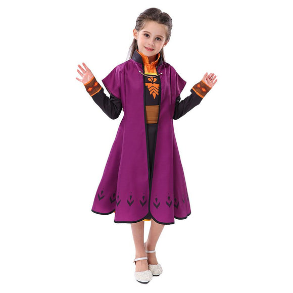 Girls Frozen 2 Anna Princess Costume Set Christmas Cosplay Birthday Party Princess Dress