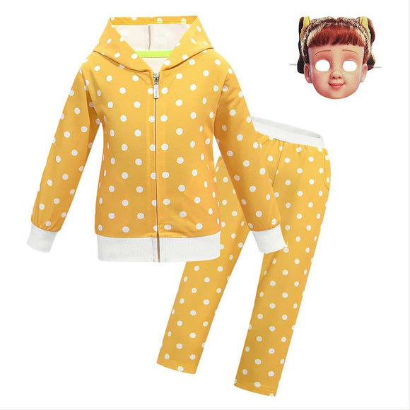 Girls Halloween Toy Story 4 Gabby Cosplay Costume Zip Up Hoodies Suit for Halloween Party Clothing