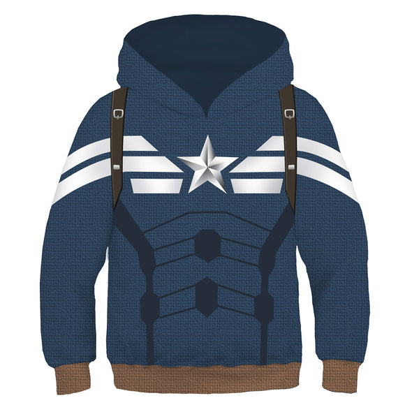 Kids Superhero Hoodies Captain America Pullover 3D Print Jacket Sweatshirt-Fandomsky