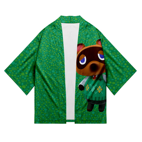 Unisex Animal Crossing Kimono Coat Tom Nook Printed Cosplay Costumes Halloween Costume Cloak