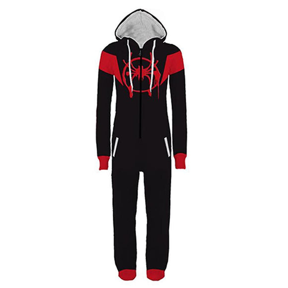 Halloween Into The Spider-Verse Miles Morales Pajamas Cartoon Onesie Hooded Pajamas Cosplay Costume