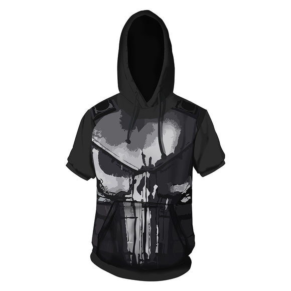New Daredevil Punisher Unisex Short Sleeve T-Shirt Skull Logo Hooded-Fandomsky