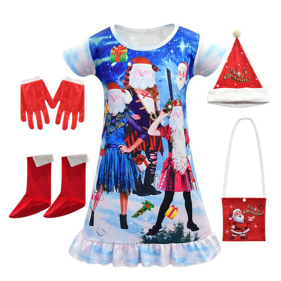 Kids Girls Christmas Costume Descendants Dress Hat Gloves Shoes Bag Festival Party Xmas Funny Costume Santa Claus Clothing