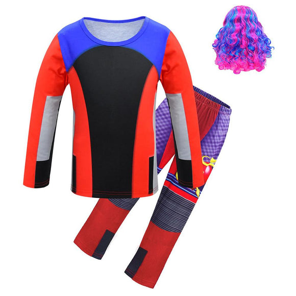 Kids Descendants 3 Halloween Costume Evil Cosplay Clothing Funny Christmas T-shirt Set