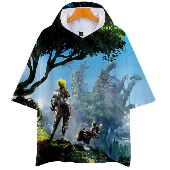 Unisex Monster Hunter: World T-Shirt 3D Printed Hooded Short Sleeve Pullover Tee Tops