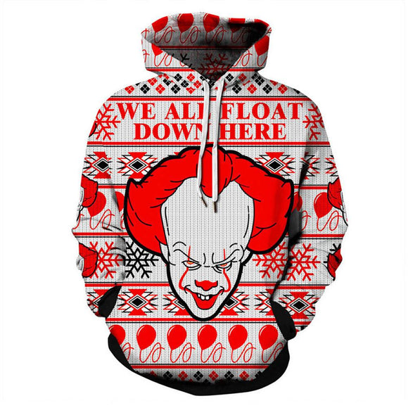 Unisex Pullover Hoodie Hoody IT Chapter 2 Pennywise Clown 3D Print Hooded Sweatshirt Hip Hop Streetwear