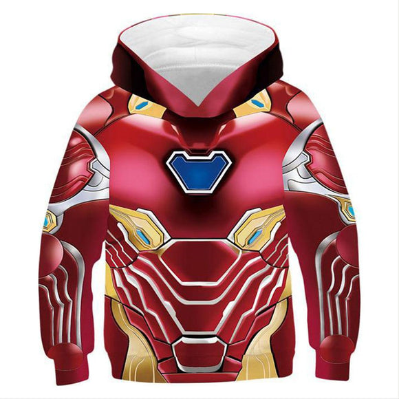 Kids Endgame Ironman Hoodie Halloween Cosplay Costume Hooded Sweatshirts-Fandomsky