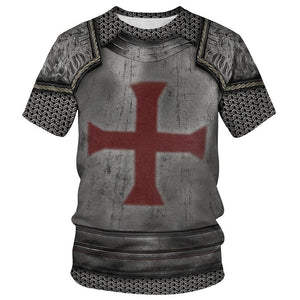 Knights Templar Crusader Cross Adult T Shirt-Fandomsky