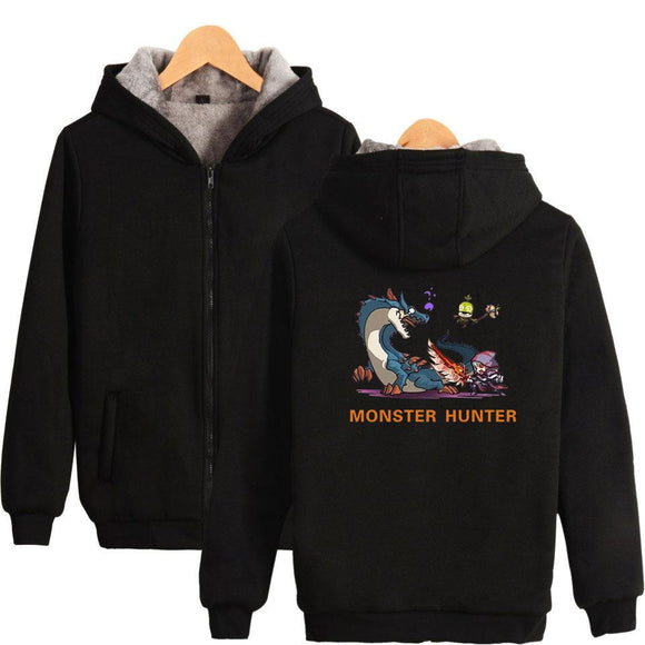 Unisex Monster Hunter: World Hoodies Teens Novelty Hooded Sweatshirts Spring Zip Up Outerwear Sportswear