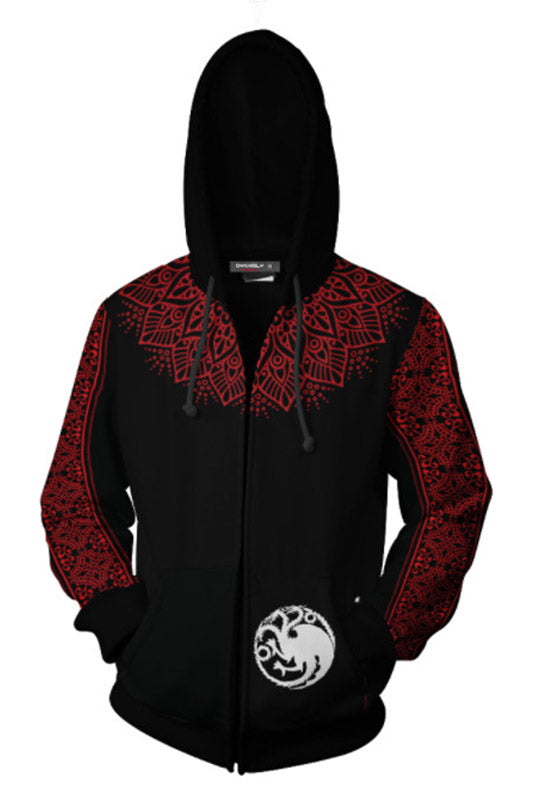 Game of Thrones Hoodies Targaryen Fire Blood Dragon Sweatshirt Zipper Hoodie-Fandomsky