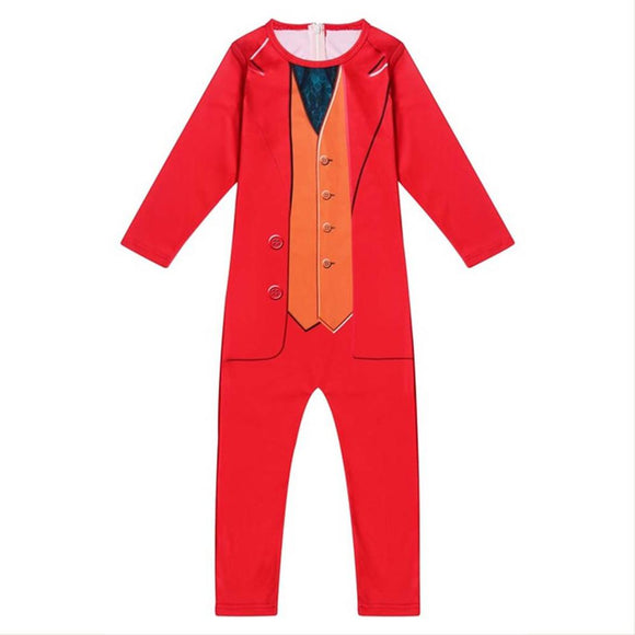 Kids 2019 Movie Joker Arthur Fleck Cosplay Costume Fancy Carnival Halloween Jumpsuit Red Suit