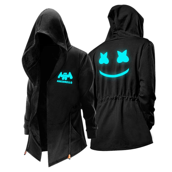 Unisex Winter Warm Hooded Coat DJ Marshmello Zip Up Thick Solid Fleece Outwear Wind Jacket